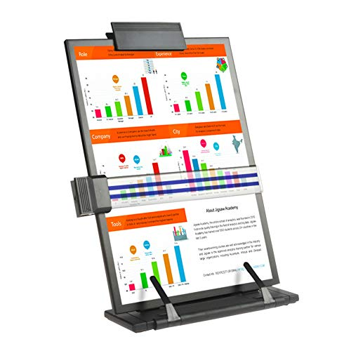 THINKSPARX Desktop Document Holder for Typing,7 Easy Viewing Positions Easel Copy Paper Holder with Adjustable Clip and Line Guide,Hold Letter Legal A4 Documents Up to 150 Sheets