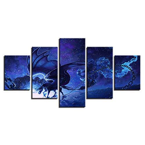 HD Animals Pictures Printing Decor Wall Art 5 Pieces Horse And It Wings Starry Sky Abstract Night View Modular Canvas Paintings-Without frame