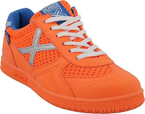 Munich Zapatilla G3 Kid Talla 38, Color Naranja Flúor, Plata