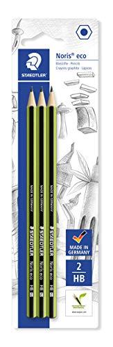 STAEDTLER Bleistift Noris eco, hohe Bruchfestigkeit, rutschfeste Soft-Oberfläche, Wopex-Material, Härtegrad HB, Blisterkarte mit 3 Stück, 18030HBBK3