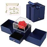 Minterest Regalo san valentino per lui ,rosa stabilizzata Jewelry Gift Box con strass Gira...