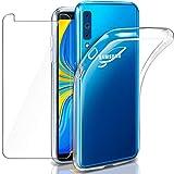 AROYI Samsung Galaxy A7 2018 Hülle + Panzerglas, Samsung Galaxy A7 2018 Durchsichtig Hülle Transparent Silikon TPU Schutzhülle Premium 9H Gehärtetes Glas für Samsung A7 2018