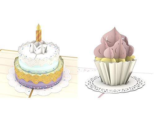 Bundle of 3D Pop Up Cards for Birthday, Thank you, Graduation, Greeting, Congratulations, Get Well, Recovery, Blank (Birthday Cakes)