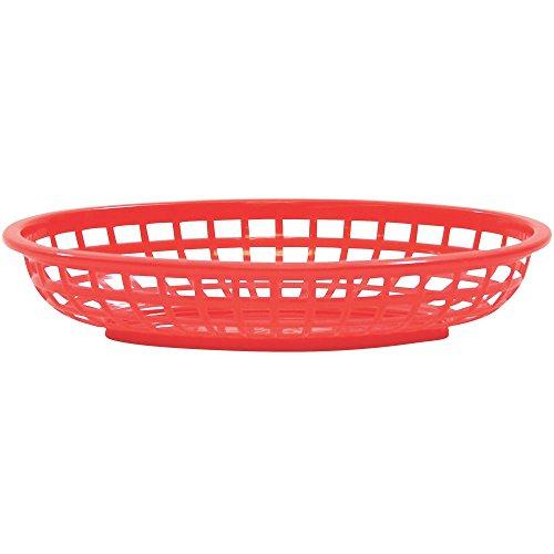 TableCraft Classic ovale voedermanden, 24 x 15 x 5 cm, rood, 36 stuks kunststof manden, dinermanden, voedermanden, eetmanden, presentatiemanden, pompommanden, hamburgermanden, hot dog manden