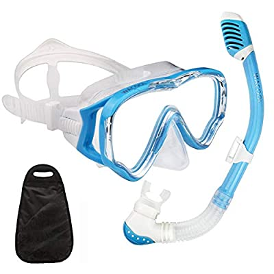 WACOOL Snorkeling Snorkel Package Set for Kids Youth Junior, Anti-Fog Coated Glass Diving Mask, Snorkel with Silicon Mouth Piece,Purge Valve and Anti-Splash Guard.(SkyBlue)