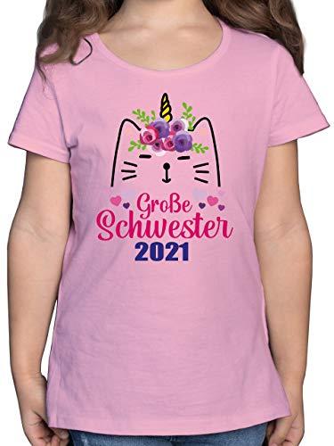 Geschwisterliebe Kind - Große Schwester mit Katze 2021-128 (7/8 Jahre) - Rosa - Baby - F131K - Mädchen Kinder T-Shirt