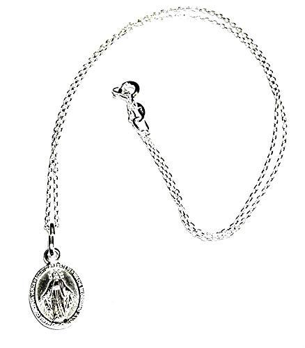 perlascarel Collar Colgante Medalla Vírgen de la Milagrosa 15x11 mm Plata de Ley con Cadena a 40 cm Plata de Ley a 40 cm Estuche Incluido