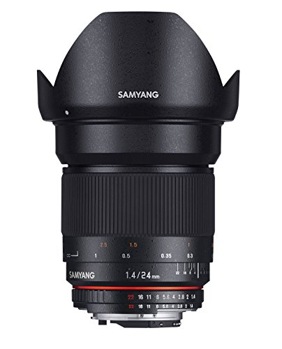 Samyang F1110807101 - Objetivo fotográfico DSLR para Olympus 4/3 (Distancia Focal Fija 24mm, Apertura f/1.4-22 ED AS IF UMC, diámetro Filtro: 77mm), Negro