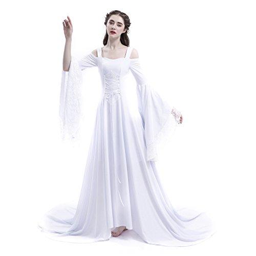 D-RoseBlooming White Renaissance Fairy Tale Medieval Wedding Dress (XXXX-Large)