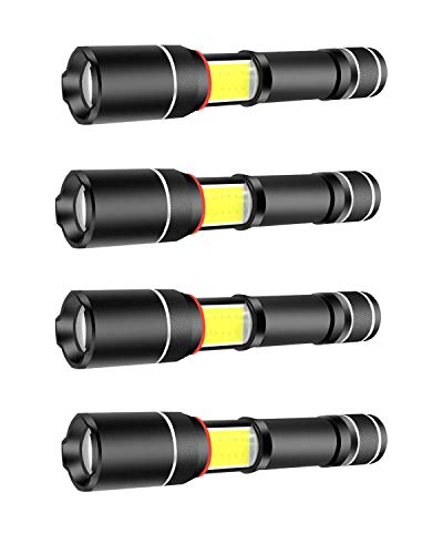 4 Pack Military Grade 3000 Lumens Tactical LED Lantern Flashlight with Magnet and Zoom As Seen On TV Flashlights for Hurricane Hiking Camping Emergency