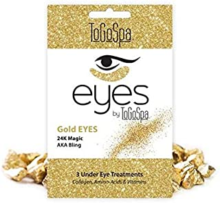 Gold EYES by ToGoSpa Premium Anti-Aging Collagen Gel Pads for Puffiness, Dark Circles, and Wrinkles Under Eye Rejuvenation for Men & Women - 1 Pack - 3 Pair