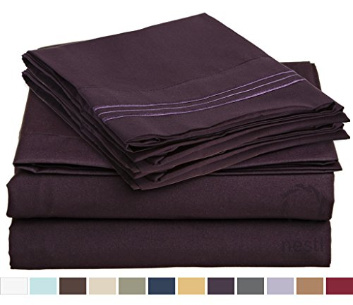HIGHEST QUALITY Bed Sheet Set, #1 on Amazon, Queen Size, Purple Eggplant, - Super Soft, Silky Coziest Sheet – SALE! - Better than Cotton, Will Fit Deep Pocketed Mattresses - Wrinkle, Stain and Fade Resistant Hypoallergenic Fabric - Set Includes Luxury Fitted and Flat Sheets and Pillow Cases. Ideal for Your Bed! Best for Your Bedroom, Guest or Children's Room, Vacation Home and RV - Makes an Excellent Gift - LIFETIME 100% Included - Nestl Bedding