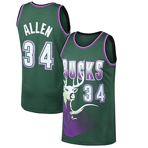 WSWZ Herren-Basketball Trikots - Milwaukee Bucks 34# Ray Allen-Trikot - Unisex-Bequemes Basketball-Sportwesten-Top-T-Shirt,M(170~175CM/65~75KG)