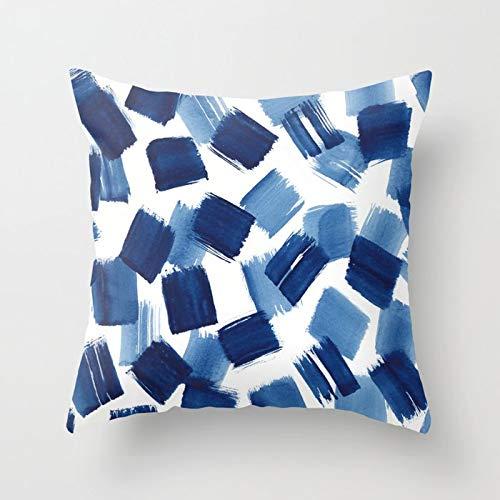 PPMP Acuarela Azul Abstracto mármol patrón geométrico sofá Funda de Almohada Dormitorio decoración del hogar Funda de cojín Funda de Almohada A10 45x45 cm 2pcs