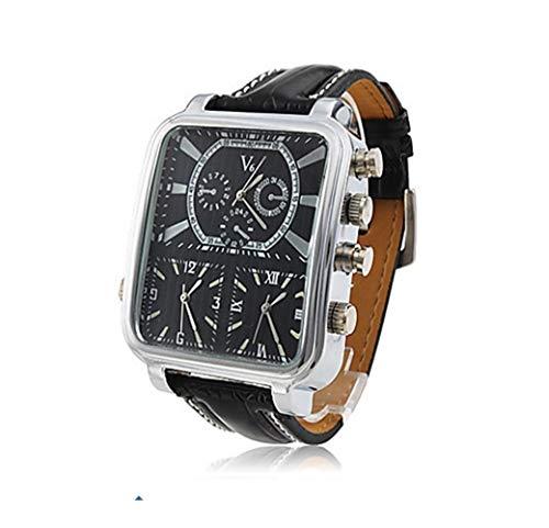 BAN SHUI JU MINSU GUANLI V6 Personalisierte Uhr Römischen Urlaub Zeiger Tisch Quadrat Großes Zifferblatt Leder Uhr Herrenuhr Angenehm Zu Tragen (Color : Silver Shell Black Surface, Size : L)