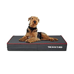 """Replacement Outer Cover ONLY (Outer Cover ONLY – NO Bed, NO Waterproof Inner) for The Dog's Bed, Washable Quality Oxford Fabric, Medium 34"""" x 22"""" x 4"""" (Grey with Red Piping)"""