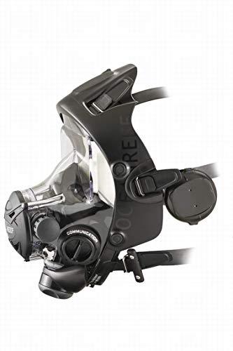 OCEAN REEF Unisex Space Extender Integrated Full Face Diving Mask, Black/Black, Medium/Large