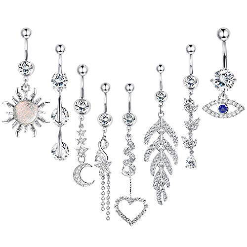 Jstyle 8Pcs Dangle Belly Button Rings Surgical Stainless Steel for Women Girls 14G Navel Rings Barbell CZ Body Piercing Jewelry