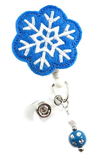 Christmas Blue Snowflake - Nurse Badge Reel - Retractable ID Badge Holder - Nurse Badge - Badge Clip - Badge Reels - Pediatric - RN - Name Badge Holder