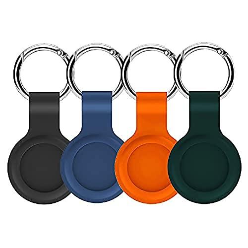 4 piezas de funda protectora para iPhone AirTag de silicona (con hebilla), protectora y resistente a los arañazos ligera cubierta de protección de la piel para accesorios de etiqueta de aire Color-F