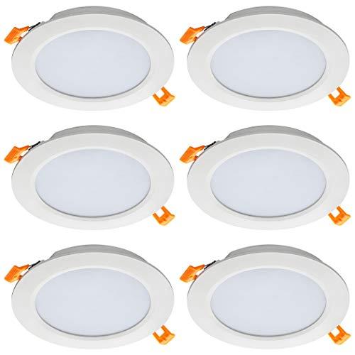 SEBSON® LED Einbaustrahler rund flach 230V, integrierter Treiber, 12W, warmweiß 3000K, Deckenstrahler 870lm, LED Panel Ø168x24mm, 6er Pack