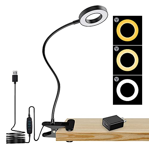 DLLT Dimmable Clip on Light, 48 LED USB Book Reading Light, Color Changeable Night Light Clip on for Desk, Bed Headboard, Makeup Mirror, Dorm Room, Computer, Piano Lighting, 15 Brightness (Black)