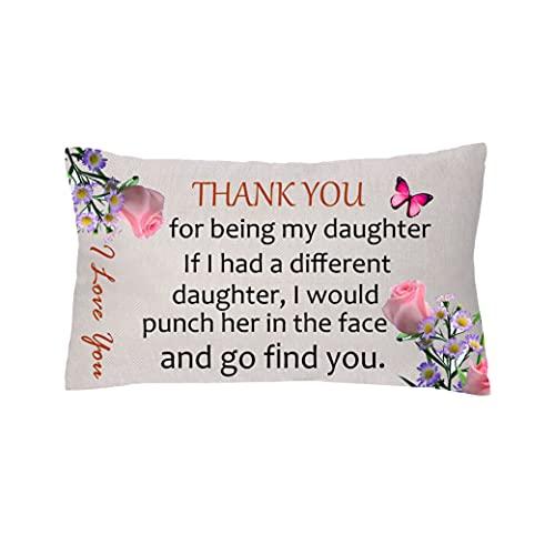 aligarian Funda de cojín para hija, funda de almohada de lino, decoración de sofá, graduación, inspirador, appreciado, abrazo, 30,5 x 50,8 cm, para niña, cumpleaños, I Love You (estilo 1)