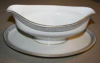 K & A Krautheim Selb Bavaria Black & Gold Geometic 7187 Pattern Gravy Boat With Attached Underplate