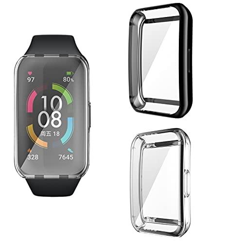 Jasinber 2-Pack Protector de visualización Completa Funda Carcasa Case Compatible con Huawei Band 6/Honor Band 6 (Negro + Transparente)