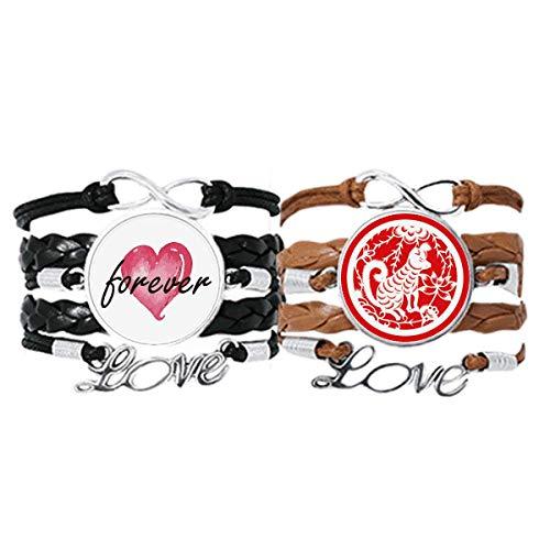 Bestchong Corte de papel perro animal China Zodiaco arte pulsera correa de...