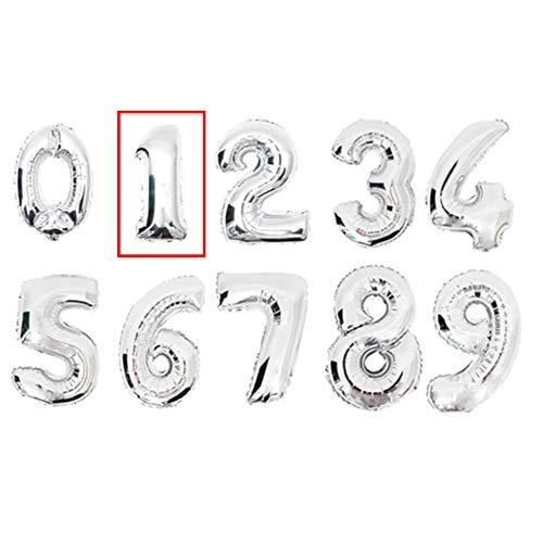 DW4Trading® Cijfer ballon 1 zilver