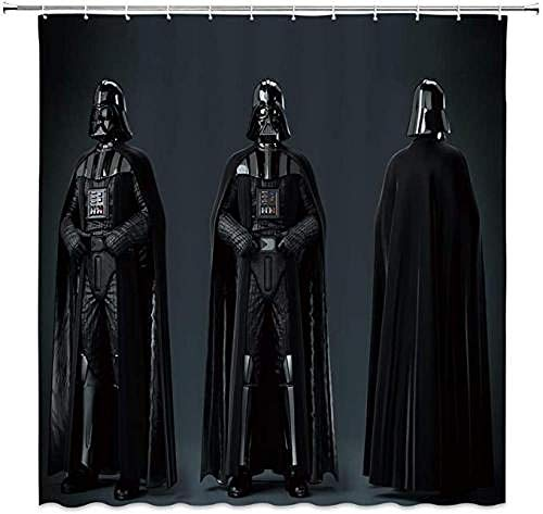 YUJEJ801 Shower Curtain with 12 Hooks,Star Wars Darth Vader Curtain Anti Mould Waterproof Polyester Fabric Mildew Resistant Shower Curtain for Bathroom 180x180cm (72x72 Inch)