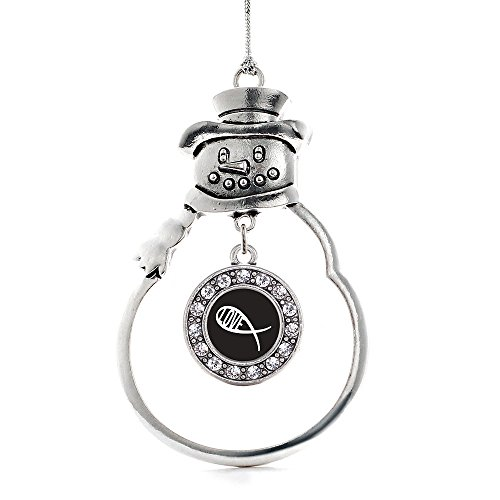 Inspired Silver Christian Fish Love Circle Snowman Holiday Decoration Christmas Tree Ornament