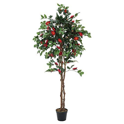 artplants.de Árbol Camellia con 1630 Hojas, 110 Flores, Rojo, 180cm - árboles Artificiales - Flores Rojas