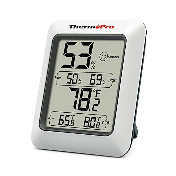 ThermoPro TP50 Digital Hygrometer Indoor Thermometer Room Thermometer and Humidity Gauge with Temperature Humidity… 1 【Air Comfort Indicator】Humidity meter with humidity level icon indicates air condition -- DRY/COMFORT/WET, allowing this humidity sensor to ensure you're always aware of changes to your home/household with just a quick glance 【High Accuracy and Quickly Refresh】Inside thermometer has high accuracy of ±2~3%RH and ±1°F, making it ideal for measuring fluctuating readings like in a greenhouse; Data measurements are updated every 10 seconds to give you lastest changes of the environment! 【High & Low Records】Accurate hygrometer digital thermometer displays high and low temperature & humidity, always get ready to the changes of the environment!