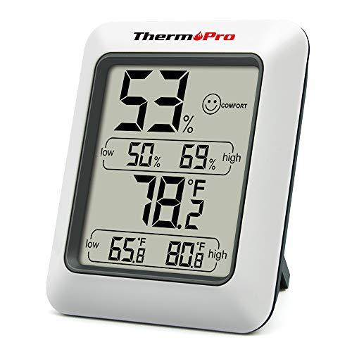 ThermoPro TP50 Hygromètre Numérique Thermomètre Intérieur Thermomètre D'ambiance et Indicateur D'humidité avec Moniteur D'humidité et de Température