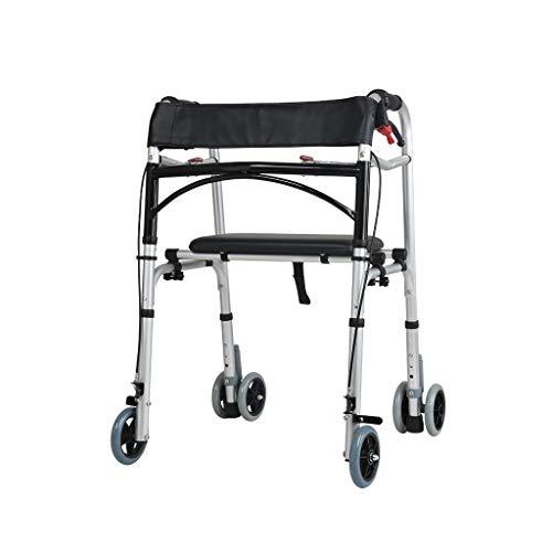 Gehgestell mit Rädern, klappbarem Rollstuhl Höhenverstellbarer Rollator und Transitstuhl Kombination abschließbare Bremsen Fußstützen und Gurt zur Sicherheit