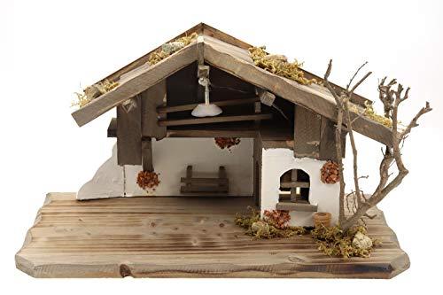 Creation Gross Holz Krippenstall, Weihnachtskrippe mit Licht 38 * 18 * 21cm (OHNE Krippenfiguren)