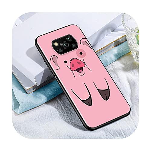 Phone cover Lindo Kawai Pig Para Xiaomi Poco X3 Nfc M3 M2 X2 F3 F2 Pro C3 F1 Mi Play Mix 3 A2 A1 6X 5X Negro Teléfono Case Style 03-Para Xiaomi 6