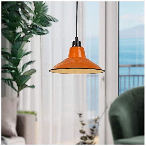 HIGHKAS Lámpara Colgante Retro Vintage con Pantalla de Esmalte Naranja, Luces Colgantes industriales, Montaje de suspensión E27 Diseño de Hierro Forjado Edison