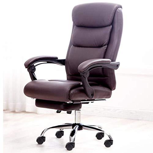 N/Z Daily Equipment Chairs Bürolederstuhl mit Fußstütze und Stahlfüßen Executive Swivel Computer Chair Höhenverstellbar