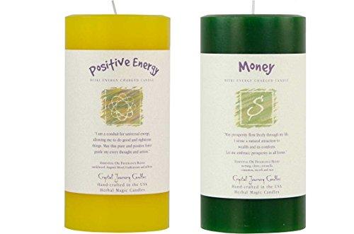 6' x 3' Crystal Journey Reiki Charged Herbal Magic Pillar Candle Bundle (Positive Energy, Money) - Vegan