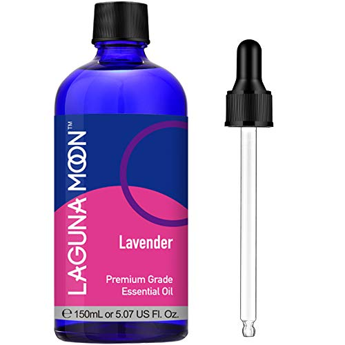 100% Pure Lavender Essential Oil (Large 5 oz) - Premium Grade Lavender Oil for Aromatherapy, Relaxation, Skin Care and Hair Growth, Huge Bottle with Dropper, by Lagunamoon, 150ml