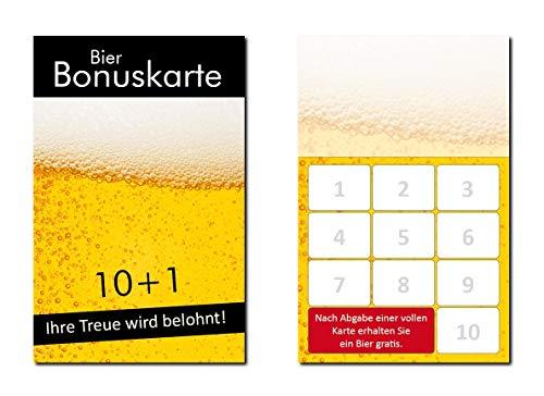250 Stück Bier Bonuskarten (BOK-415) mit 10 Stempelfeldern Gastronomie Treuekarten passend für ihr Lokal Gaststätte Kneipe