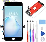 YPLANG Compatible with iPhone 7 Screen Replacement Black(4.7') LCD 3D Digitizer Touch Screen with Assembly Full Repair Kit, Screen Protector, and Flowchart