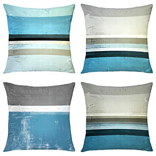 GALMAXS7 Blaugrün Grau Modern Abstrakt Kunst Dekorative Throw Kissenbezüge Weicher Samt Neutral Sofa Kissenbezug Quadratische für Couch Schlafzimmer Wohnzimmer 45,7 x cm Set von 4 Stück