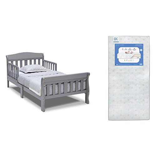 Delta Children Canton Toddler Bed, Grey + Delta Children Twinkle Galaxy Dual Sided Recycled Fiber Core Toddler Mattress (Bundle)