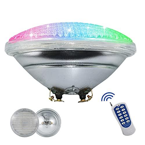 Luces de piscina LED, 12 V CA 45 W PAR56 luz de piscina reemplazo bombilla de la piscina, cambio de color RGB, IP68 impermeable, con control remoto