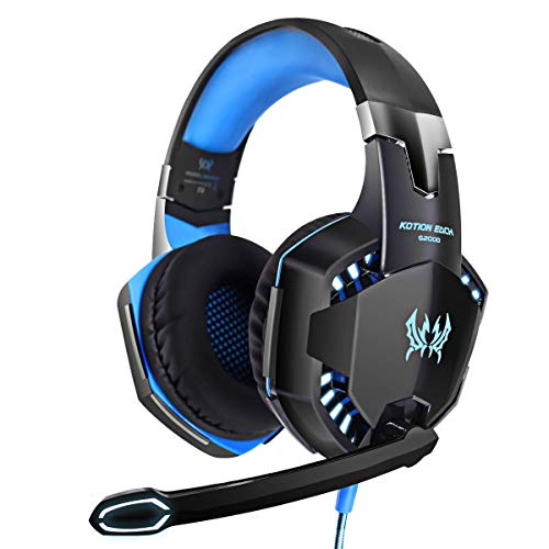 G2000 Gaming Headset, LED 3,5 mm Stereo Gaming LED Beleuchtung Over-Ear Kopfhörer Headset Kopfbügel mit Mikrofon Stereo Bass Geräuschunterdrückung für PC Computer Spiel