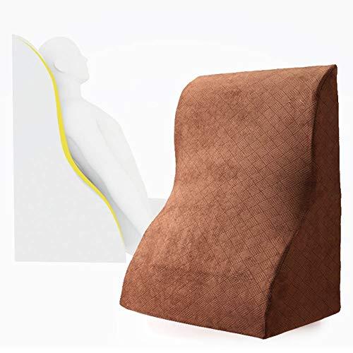 Wedge Pillow, Anti-Reflux Wedge Foam Multipurpose Wedge Pillow, Memory Foam Incline Cushion, Reduce Back Pain, Snoring, Acid Reflux & Respiratory (Color : Brown)